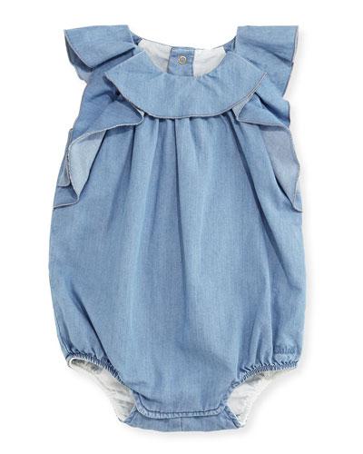 Bubble Chambray Bodysuit, Blue, Size 3-18 Months