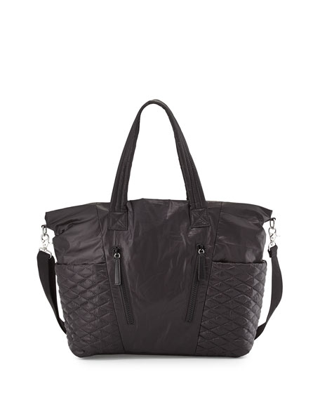 Rebecca Minkoff Yoko Leather-Trim Baby Bag, Black