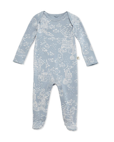 Sea Life-Print Footie Pajamas, Blue, Size 3-9 Months