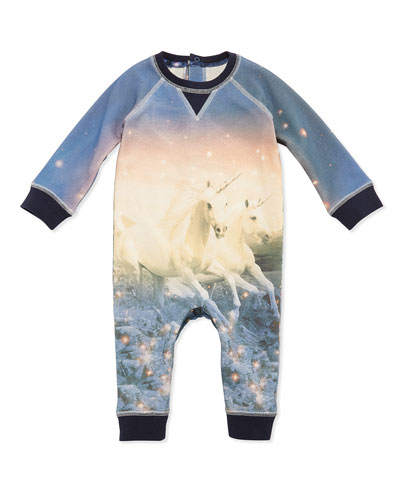 Unicorn-Print Coverall, Multicolor, Size 3-24 Months