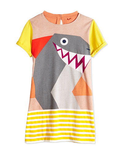 Short-Sleeve Shark-Print Jersey Dress, Multicolor, Size 2Y-14Y