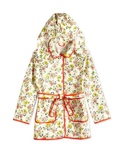 Floral-Print Raincoat, Cream, Size 2Y-14Y
