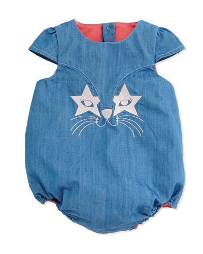 Embroidered Chambray Bubble Playsuit, Denim Blue, Size 3-18 Months