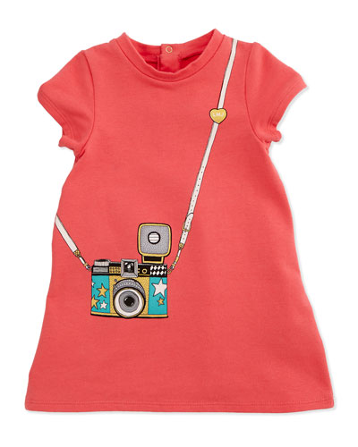 Trompe l'Oeil Camera-Print Jersey Dress, Pink, Size 6M-3Y