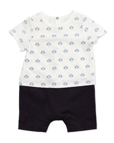 Monkey-Print Combo Shortall, White/Blue, Size 3-18 Months