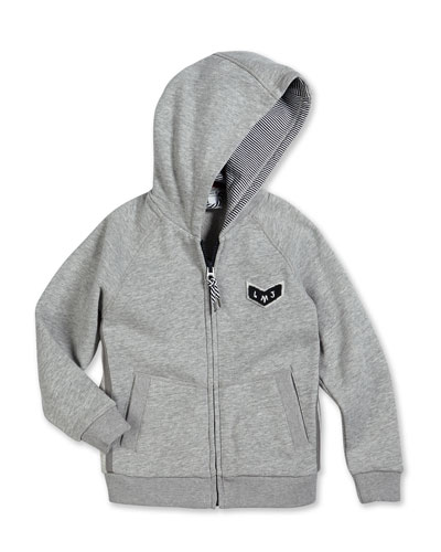 Zip-Front Hooded Sweater w/ Back Detail, Gray, Size 2-10