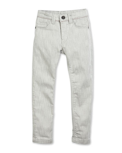 Slim-Fit Stretch-Denim Pants, Gray, Size 2-10