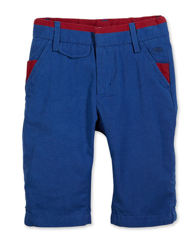 Contrast-Trim Poplin Shorts, Blue, Size 2-10
