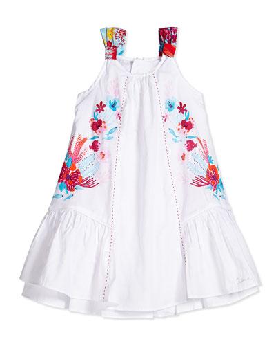 Coral-Print A-Line Dress, White, Size 6M-2Y