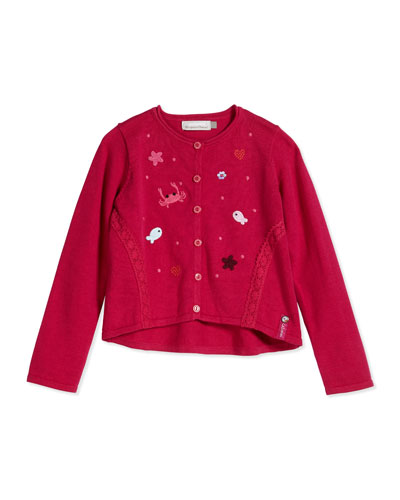 Fish Embroidered Cardigan, Raspberry, Size 4Y-6Y