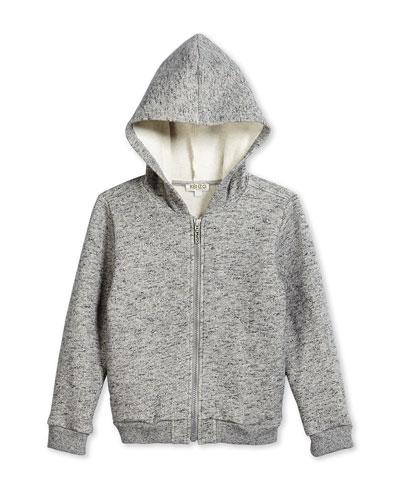 Fleece-Lined Zip Hoodie, Gray, Size 6-12
