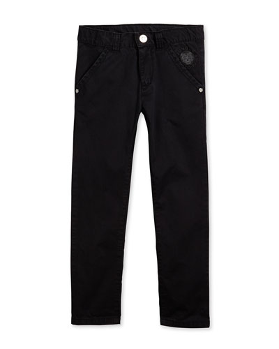 Straight-Leg Chino Trousers, Black, Size 6-12