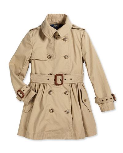 Military-Style Trench Coat, Khaki, Size 2T-6X