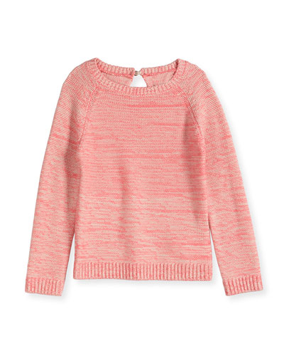 Long-Sleeve Raglan Sweater, Heather Pink, Size 8-14