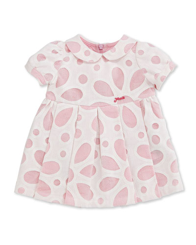 Sophisticate Floral Mesh Eyelet Dress, White/Pink, Size 3-24 Months