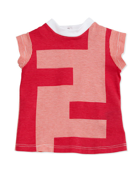 Fendi Logo Striped Tee, White/Orange, 3-24 Months