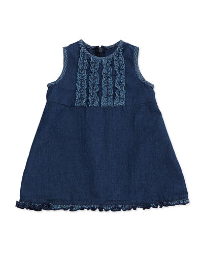 Ruffle Chambray Dress, Blue Sky, 3-24 Months