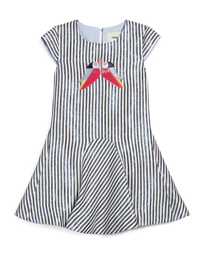 Metallic-Striped Cap-Sleeve Dress, Navy/White, Size 2-10