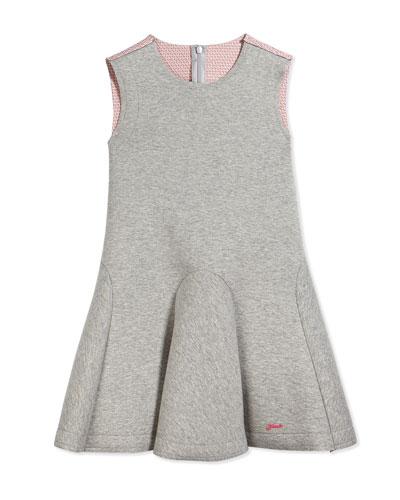 Sleeveless Neoprene Circle Dress, Gray/Coral, Size 2-10