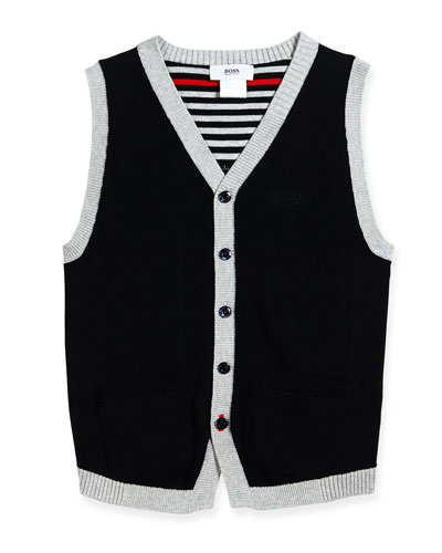 Button-Front Sweater Vest, Navy, Size 4-10