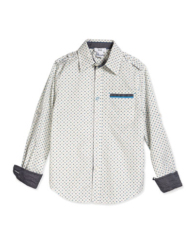 Printed Poplin Shirt, White/Turquoise, Size 4-10