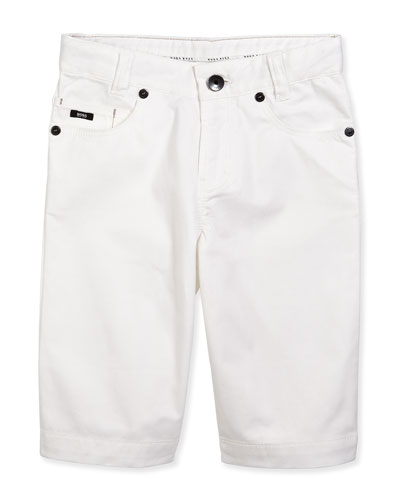 Regular-Fit Twill Trousers, White, Size 4-10