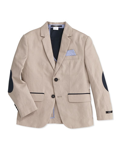 Linen-Blend Sportcoat, Stone, Size 4-10