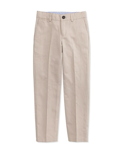 Linen-Blend Dress Pants, Stone, Size 4-10