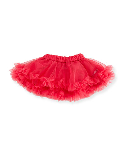 A-Line Ruffle-Trim Tulle Skirt, Pink, Size 3-18 Months