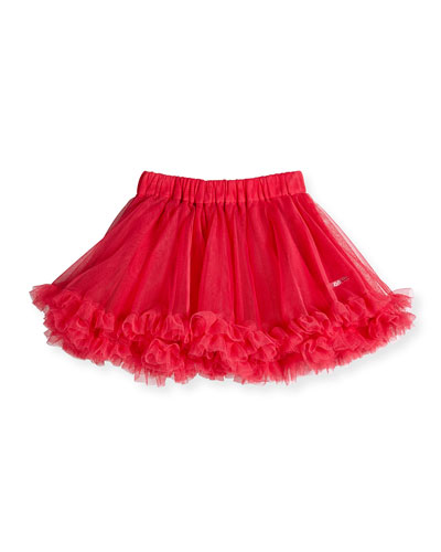 A-Line Ruffle-Trim Tulle Skirt, Pink, Size 8-12