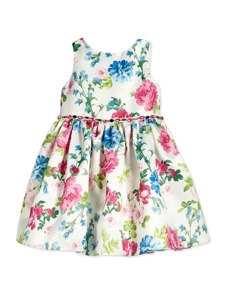 David Charles Sleeveless Satin Floral Dress, White/Pink/Blue, Size 2-10