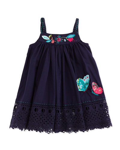 Sleeveless Cotton Poplin Dress, Navy, Size 6M-2Y