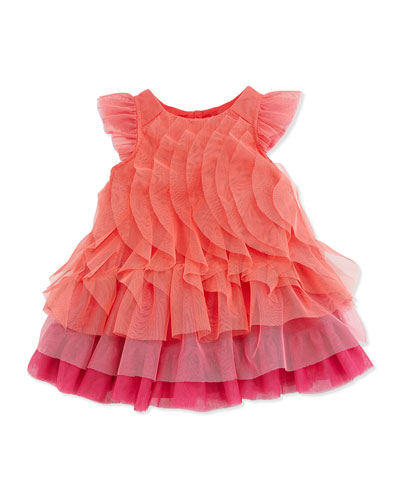 Ruffled Tiered Tulle Dress, Orange/Pink, Size 6M-2Y