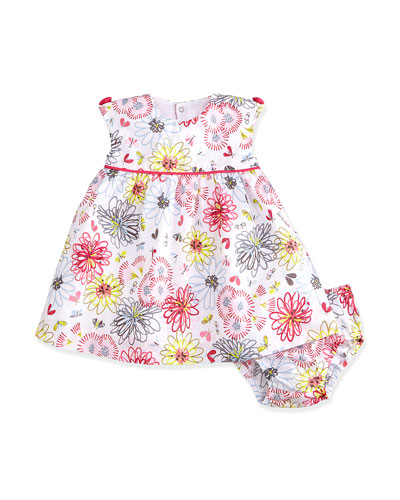 Floral Shift Dress & Bloomers, White/Multicolor, Size 3M-2Y