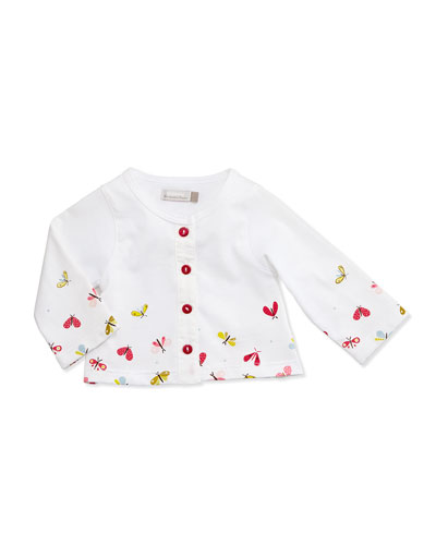 Long-Sleeve Butterfly-Print Cardigan, White, Size 3-24 Months
