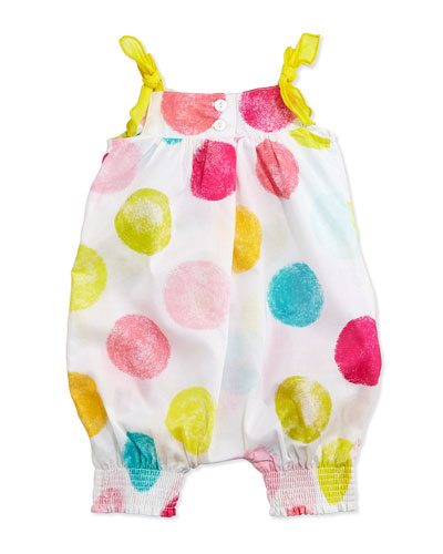 Sleeveless Polka Dot-Print Playsuit, White/Multicolor, Size 3-12 Months