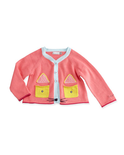 Long-Sleeve Fox Face Cardigan, Pink, Size 3-24 Months