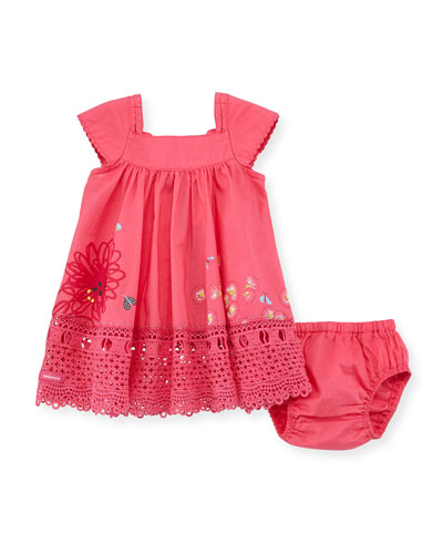 Embroidered Floral-Print Shift Dress & Bloomers, Pink, Size 3-24 Months