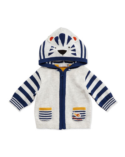 Hooded Striped Tiger Sweater, Gray, Size 3M-2Y