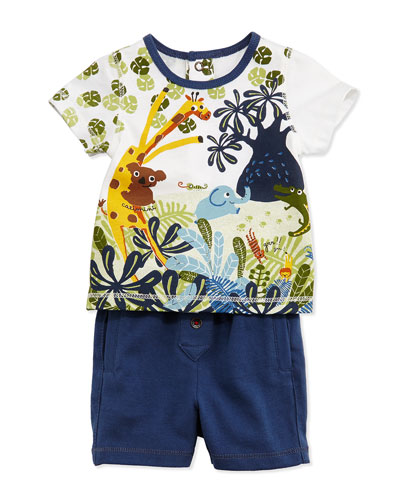 Jungle-Print Jersey Tee w/ Shorts, White/Blue, Size 3M-2Y