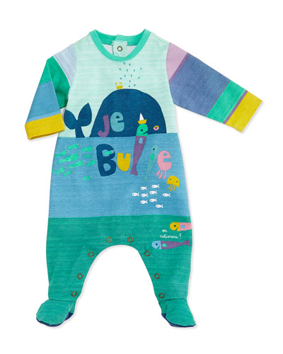 Long-Sleeve Sea Life-Print Footie Pajamas, Blue, Size 3-9 Months