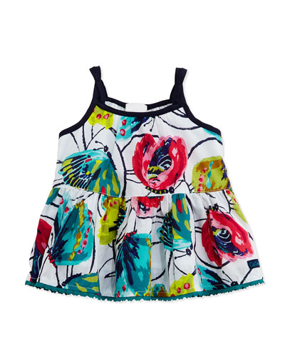 Sleeveless Floral-Print Peplum Blouse, White/Navy, Size 3Y-6Y