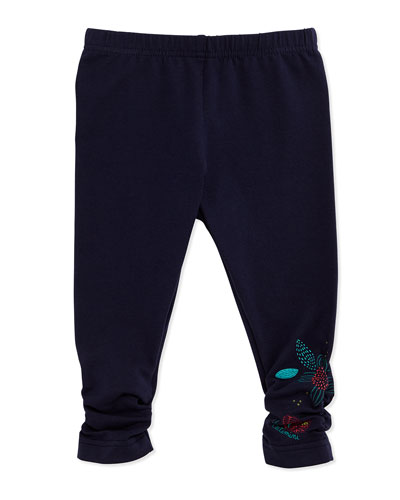 Ruched Stretch Leggings w/ Floral Detail, Navy, Size 3Y-6Y