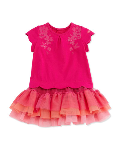 Tiered Flounce Combo Dress, Pink, Size 3Y-6Y