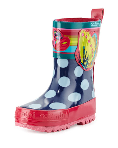 Polka Dot Rubber Rainboot, Blue/Pink