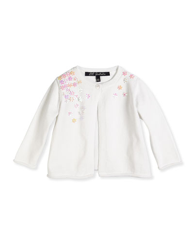 Scattered Flower Single-Button Cardigan, White, Sizes 2-6