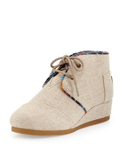 Burlap Desert Wedge Boot, Natural, Youth