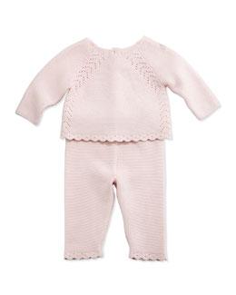 Stretch-Knit Pointelle Sweater & Pants, Light Pink, Size Newborn-6 Months