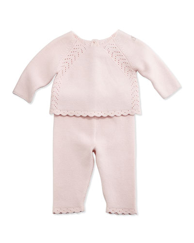 Stretch-Knit Pointelle Sweater & Pants, Light Pink, Size Newborn-6 Months