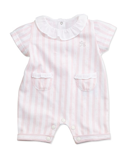 Striped Ruffle-Trim Shortall, Pink/White, Size Newborn-6 Months